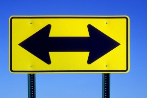 Double Arrow Road Sign